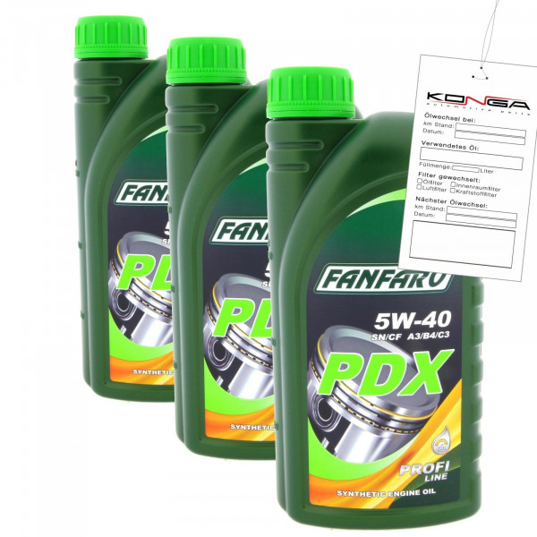 3 Liter FANFARO PDX 5W-40 Motoröl VW 502.00 BMW Longlife 04 LL04 MB 229.31 C3
