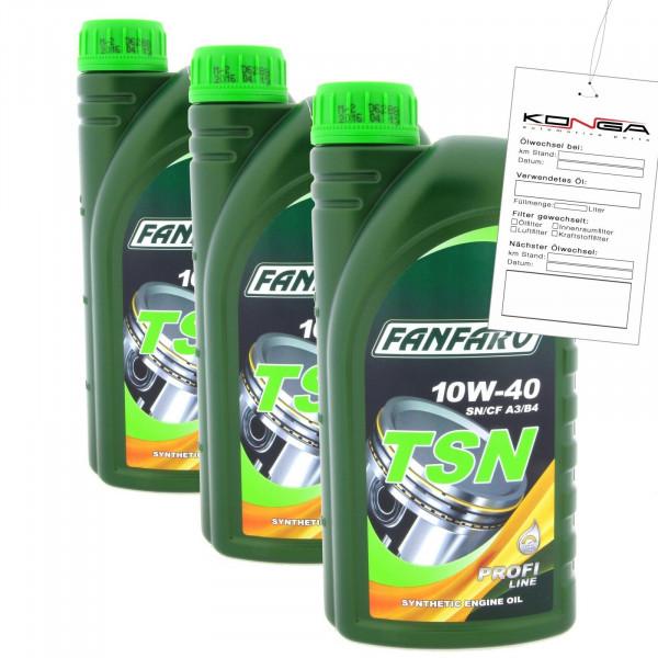 3 Liter FANFARO TSN 10W-40 SN SM CF A3 B4Motoröl MB 229.1 VW 502.00 505.00