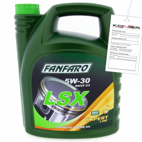 5 Liter FANFARO LSX 5W-30 SN/CF Motoröl C3 A3 B4 VW 507.00 BMW LL-04 MB 229.51