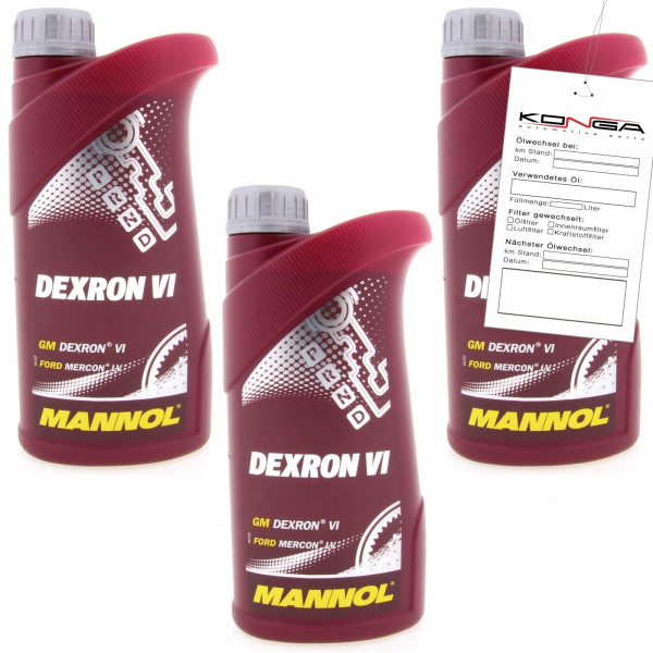 3 Liter (3x1) MANNOL Dexron VI Getriebeöl Automatikgetriebe Öl 4036021101057