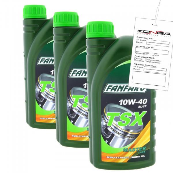 3 Liter FANFARO TSX 10W-40 SL CF Motoröl MB 229.1 VW 501.01 505.00 Synthetik