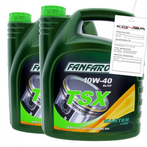 8 Liter FANFARO TSX 10W-40 SL CF Motoröl MB 229.1 VW 501.01 505.00 Synthetik