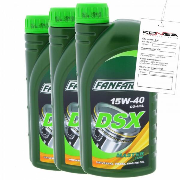 3 Liter FANFARO DSX 15W-40 CG-4/SL Motoröl E3 B3 A3 VW 505.00 501.00 MB 229.1
