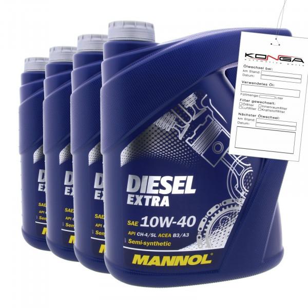 20 Liter (4x5) MANNOL Diesel Extra 10W-40 API CH-4 SL Motoröl 10W40